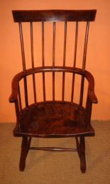 18th Century Primitive Fruitwood Stick Back Chair