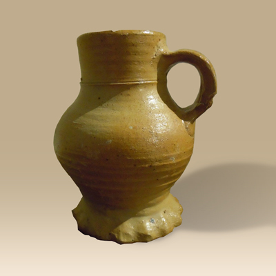 A 15th Century Hand Thrown Thumb-Print Jug