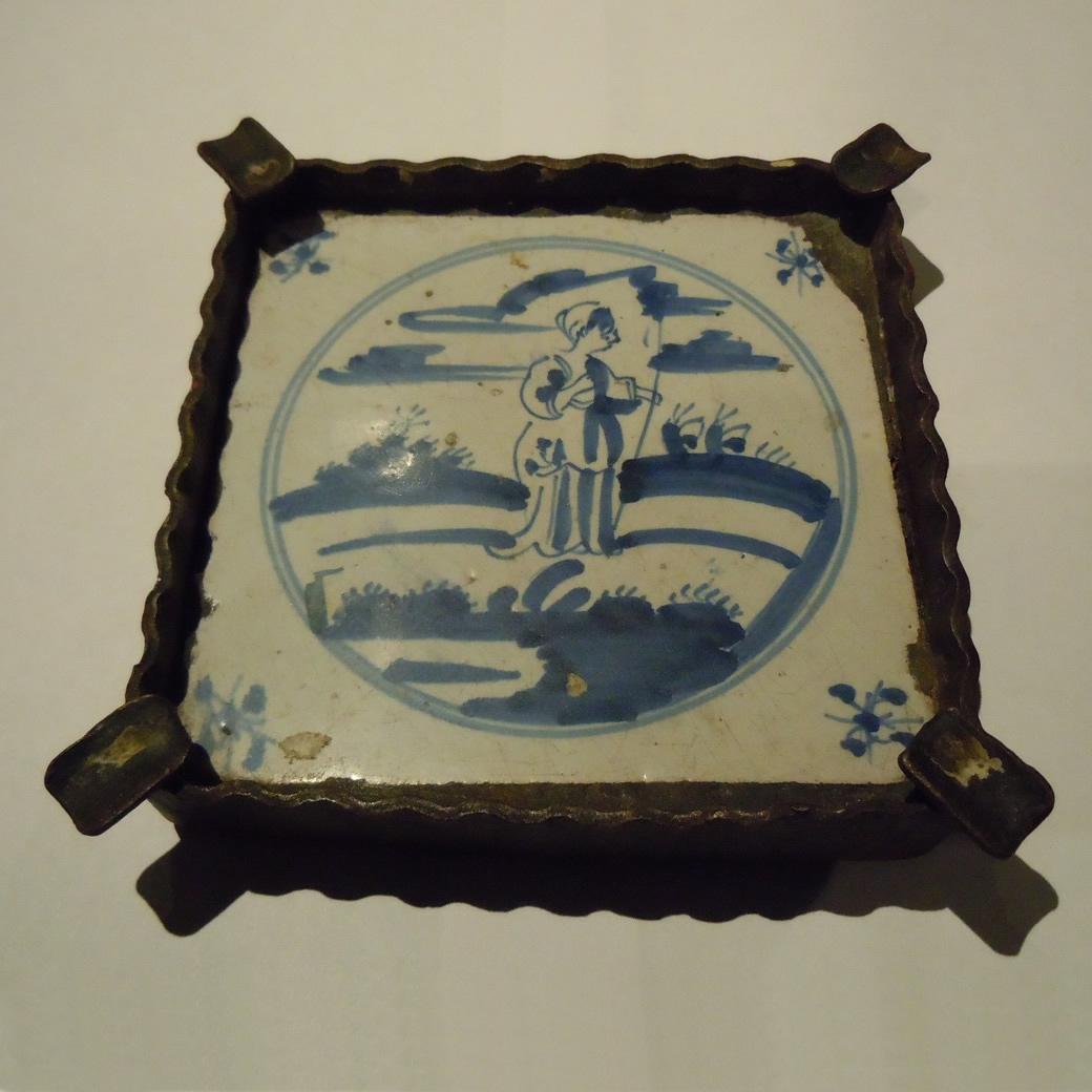 A 17th Century Blue & White Delft Tile Later Set Into An Ashtray