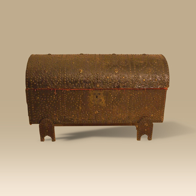 A 17th Century Leather Bound & Studded Domed Carrying Box
