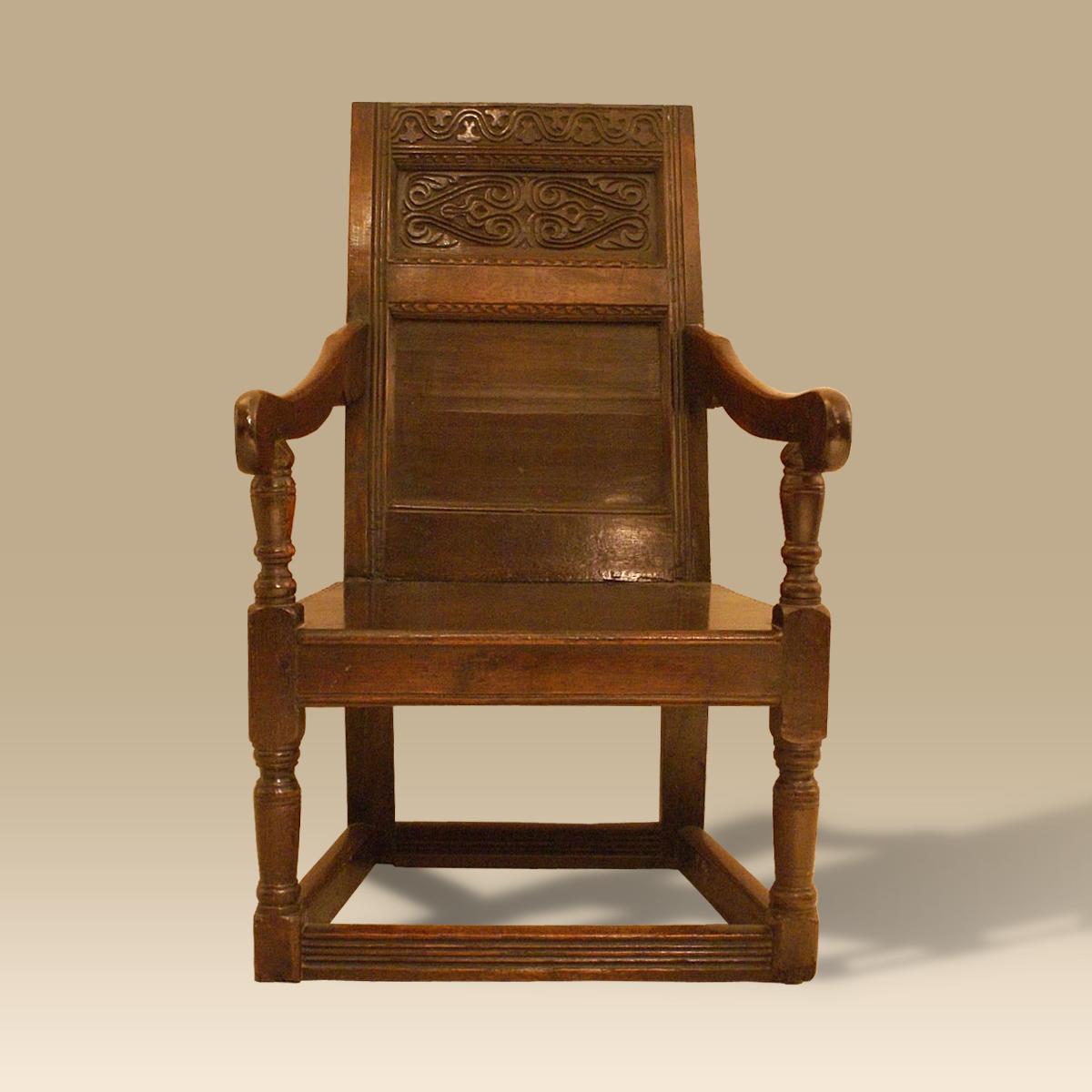 Elegant A 17th Century Oak Wainscot Chair