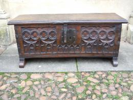 A Circa 16th Century Oak Gothic Chest