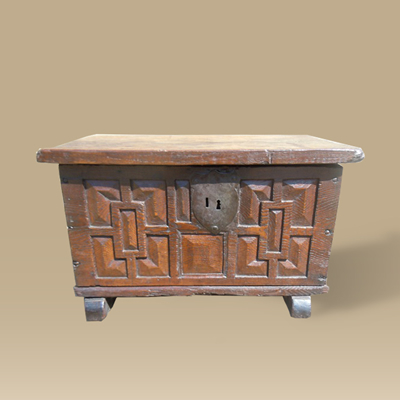 A Geometrically Carved Small Gothic Chest Dating To 16th Century Made From Oak & Chestnut