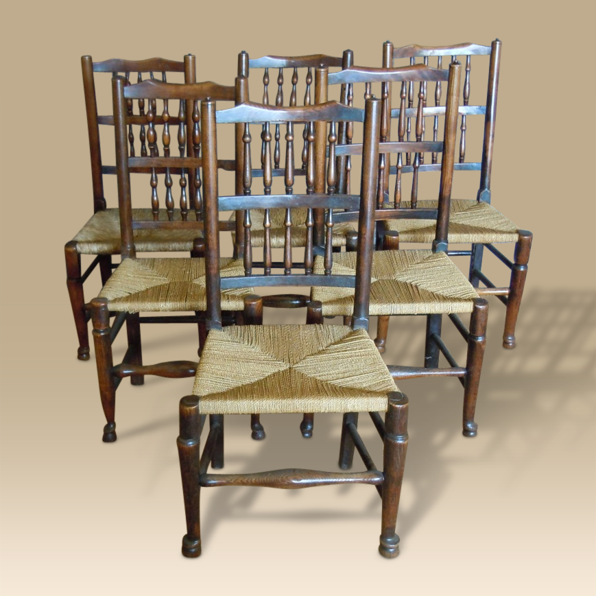 A Harlequin Set Of Six Mid 19th Century Spindle Back Chairs