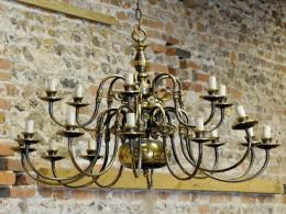 A large Dutch Style Brass 18-Branch Chandelier