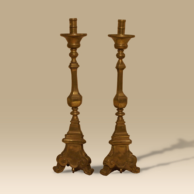 A Large Pair Of 17th Century Flemish Candlesticks