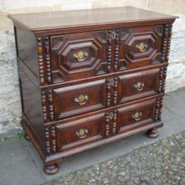 A Late 17th Century Oak Chest Of Drawers Constructed In Two Sections