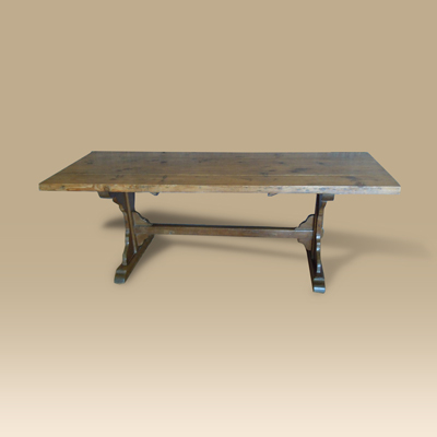 A Late 18th Century Oak & Pine Trestle Table