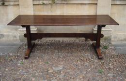 A Late 18th Century Oak Trestle Base Dining Table