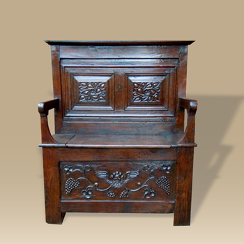 A Late 18th Early 19th Century Oak Box Settle