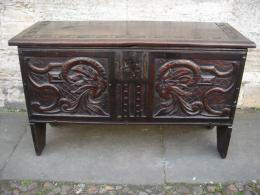 A Mid 17th Century Oak Six Plank Coffer