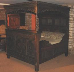A Rare 17th Century Friesian Oak Canopy Bedstead