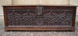 A Rare Medieval Gothic Coffer Front & Sides Circa 1450