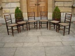 A Set Of 6 Early 19th Century Rush Seated Chairs