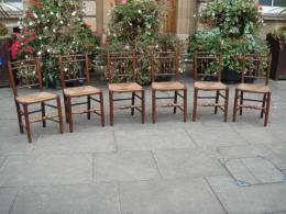 A Set Of 6 Mid 19th Century Rush Seated Chairs.