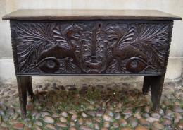 A Small Carved 17th Century Six Plank Coffer