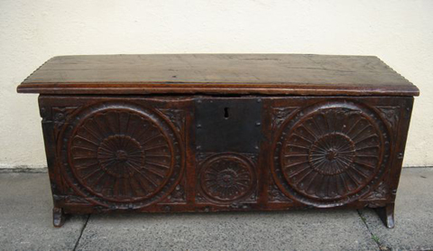 A Small Mid To Late 16th Century Six Plank Coffer
