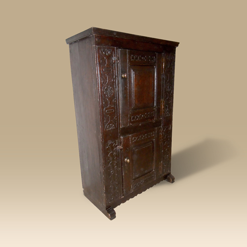 A small, rare, antique Mid to Late 16th Century two door cupboard