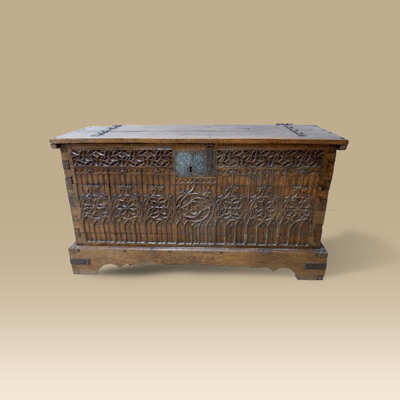 A Superb 15th Century Oak Chest Covered In Intricate Blind Gothic Tracery