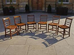 A True Set Of Six Early 19th Century East Anglian Fruit Wood Chairs