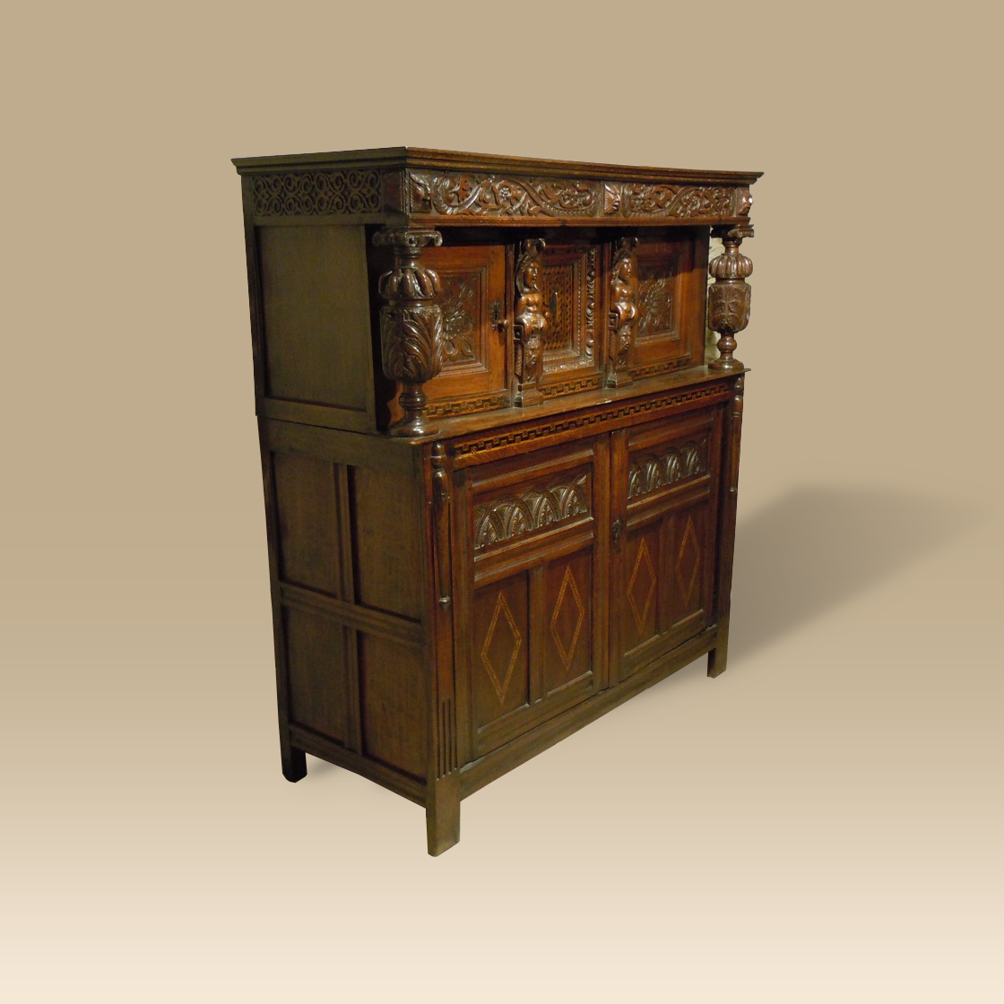 A Very Fine Late 16th Century Early 17th Century Oak Joined Press/Court Cupboard