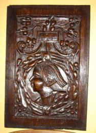 An Early 16th Century Oak Romayne Head Panel Dating To 1511 Of Exceptional Quality.