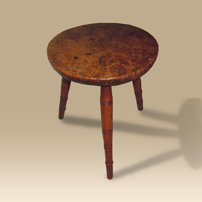 An Early 19th Century Burr Elm Stool