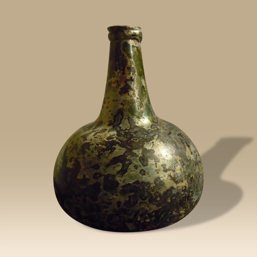 An Early Globe & Sack Bottle With Iridescence Throughout