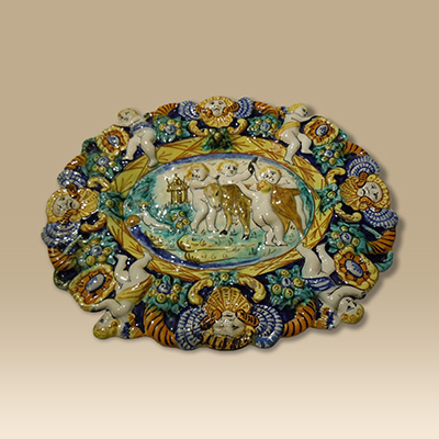 An Early Highly Decorative Majolica Plate.