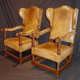 An Early Pair Of Oak & Beech Wing Chairs Circa 1690 - 1710