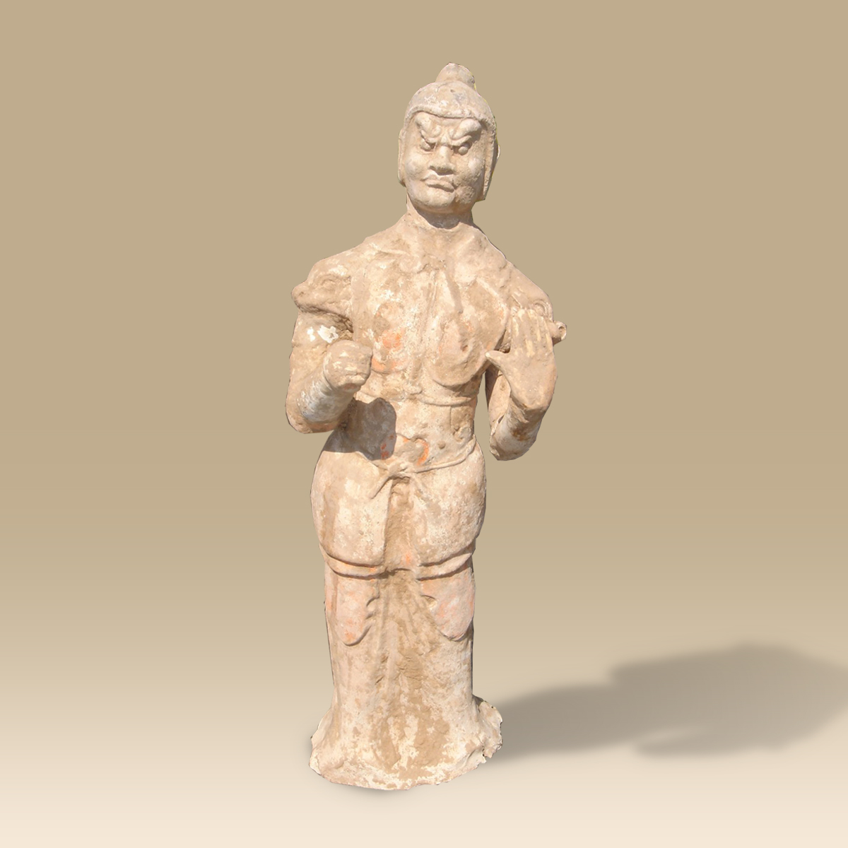 An extremely rare Tang Dynasty painted pottery Guardian