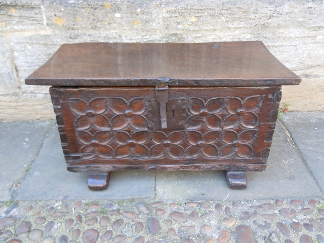 An Intricately Carved Small Gothic Chest Dating To 16th Century Made From Chestnut