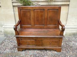 An Small Late 18th Century Fruitwood Settle