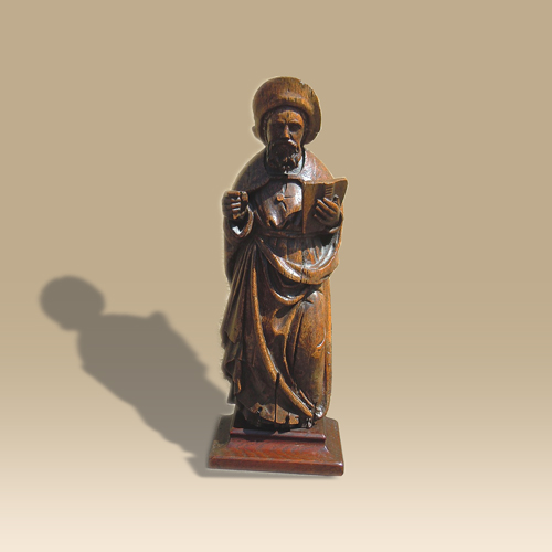 A 15th Century Statue Of A Saint