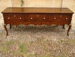 Circa 1740 Oak Three Drawer Low Dresser