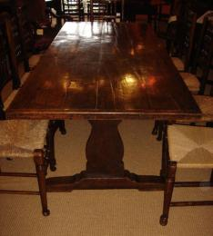 Mid 19th Century Oak Trestle Table