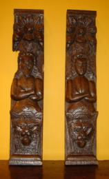 Pair Of Oak Caryatids 16th/17th Century