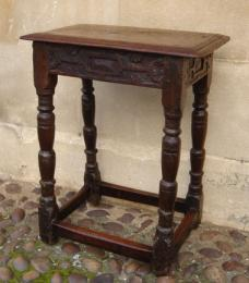 Rare 17th Century Oak Joint Stool