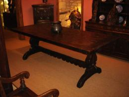Rare North Italian Chestnut Trestle Table