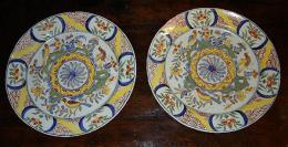 Rare Pair Of 18th Century Delft Chargers
