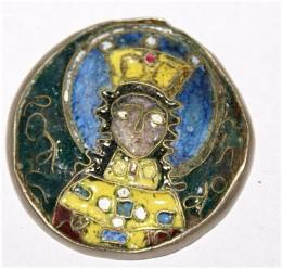 Silver & Enamelled Roundel Depicting A King