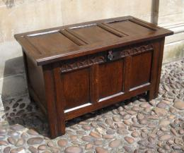 Small Oak 17th Century Three Panel Coffer